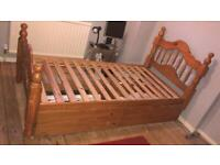 Pine single bed plus two drawers