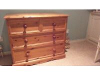 pine chest of draws with two matching bedside draws