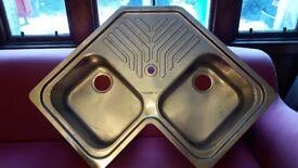Stainless 2 bowl kitchen corner sink