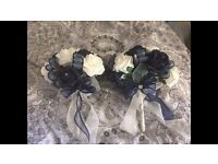 Navy and Ivory Bridesmaid Bouquets Artificial Wedding