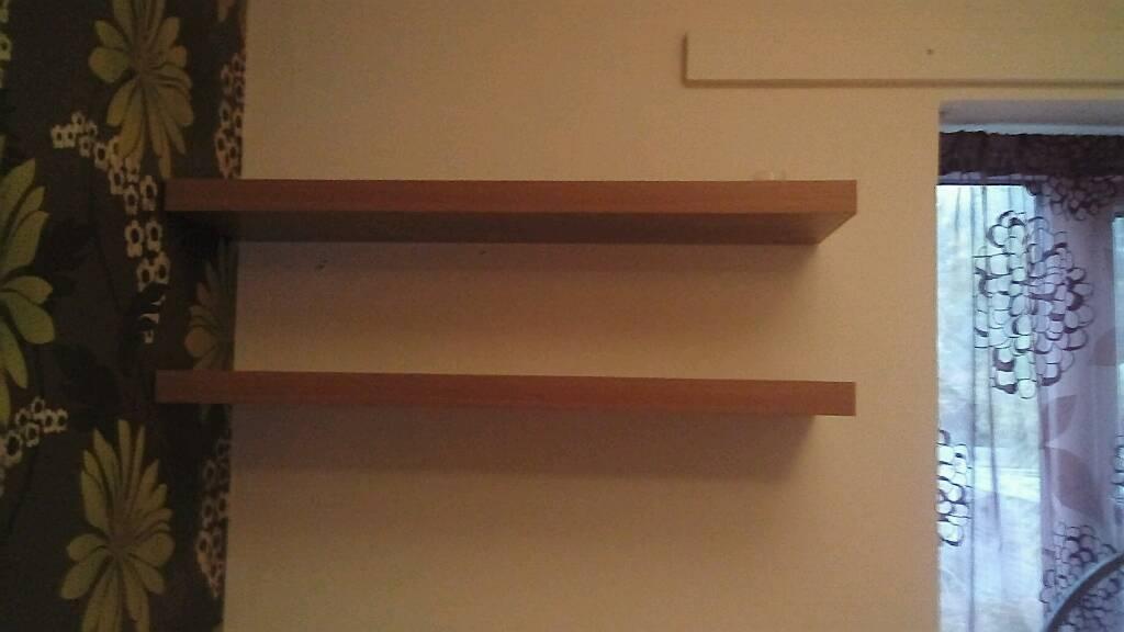 Oak style floating shelves