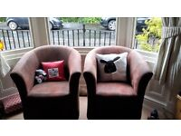 Faux leather tub chairs x 2