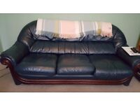 Comfy dark blue leather sofa & two armchairs for sale