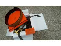 HERMES Hermès Reversible leather strap Belt with Metal Gold Brushed Buckle 110cm