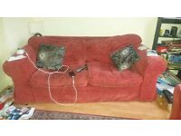 Red 3 seater sofa and matching chair