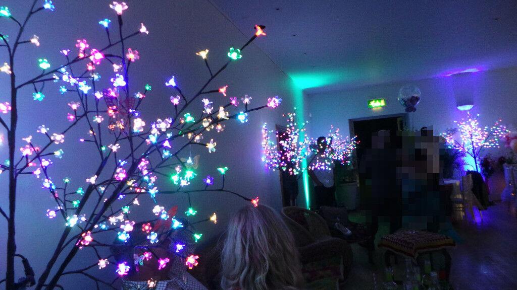 Modern Sparkling Multi Coloured SLOW FADE LED 7' Tree for indoor or outdoor use