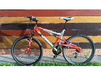 FOR SALE! Used adults Barracuda Arizona full suspension mountain bike. Red/silver, good condition.
