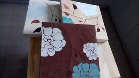 3 Suede Pictures, brown cream blue, flowery pattern