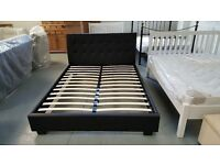Ex Display Designer Black Faux Leather King Size Bed **CAN DELIVER**