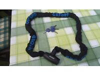 Oxford Motorbike Security Chain with 4 keys and FD Moto Disc Brake Lock with 2 Keys. As New