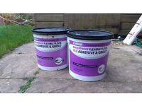 tile adhesive and grout, grey clolour
