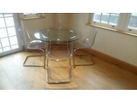 Dining Table & 4 Chairs - Ikea Salmi Glass Dining Table with 4 Ikea Tobias Chairs