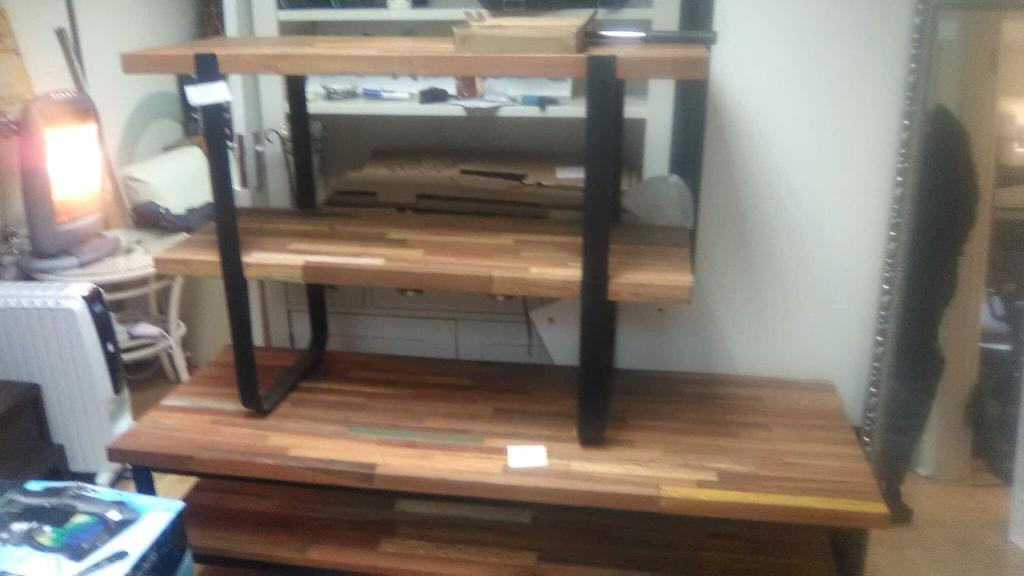 Hard wood and metal shelving unit