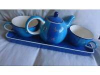 Teapot and 2 Cups on Plate