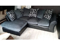 NEW Graded Grey Fabric Black Leather Left Hand Corner Sofa FREE LOCAL DELIVERY
