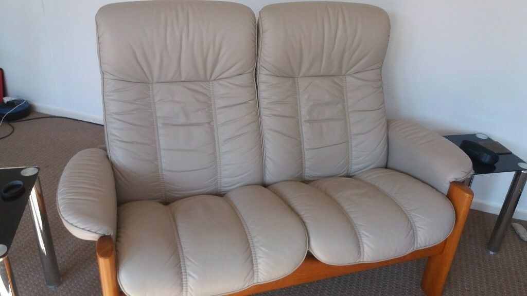 ekornes stressless leather 2 seater recliner highback sofa in old