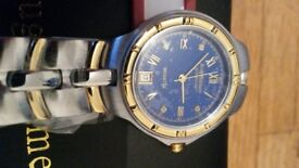 BRAND NEW Krug Baumen 2615DM Regatta 4 Diamond Blue Dial Two Tone Man's Watch