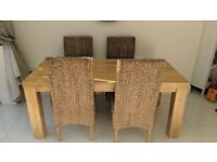 *Oak Furniture Land* natural Solid Mango 6ft Dining Table with 6 Chairs