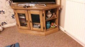 Solid rubber wood corner TV cabinet with glass doors and side shelves
