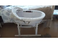 Lovely Baby Brown Wicker Moses Basket with White Rocking Stand – Great Condition