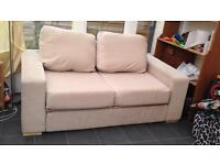 Cream double sofa. Spare cover in red/wine bought for £695
