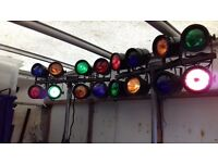 2 sets of 8 pin spots & stands plus citronic light controller