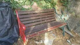Garden bench with iron/steel ends. All complete needs a paint