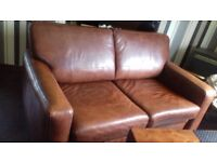 large 2 seater sofa bed in soft medium brown leather