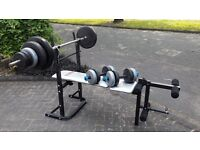 YORK BENCH WITH 56KG WEIGHTS & BARS