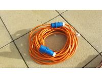 25m Orange Caravan / Camping Hook up Extension Lead Cable with 16 amp Blue Plug and Socket