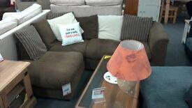 Brown Fabric Corner Sofa. BRITISH HEART FOUNDATION