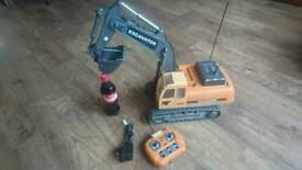 Large rc rechargeable excavator toy