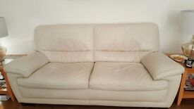 Cream 3 seater and poofy £100 ONO
