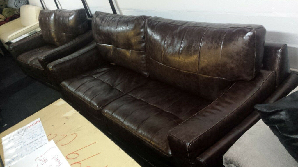EX-DISPLAY BUYBACK BROWN TOUGH CROC ENDURANCE LEATHER 4+2 SEATER