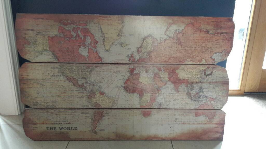 Wooden wall print Map of the world wall  in Bramhall