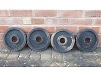 4 x 5KG OLYMPIC CAST IRON WEIGHT PLATES - 2 Inch holes
