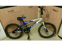 Blue and silver bmx
