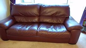 FOR SALE 1 x Chocolate Brown Leather Large 3 Seater Sofa £100