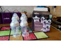 Tommee Tippee anti colic bottles and size 1 + 2 teats