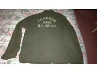Calvin klein olive cardigan in size large
