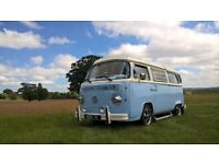 VW T2 Bay Westfalia genuine UK RHD Continental 1972 pop top camper & wedding business