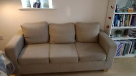 Beige three seater sofa *also selling matching two seater*