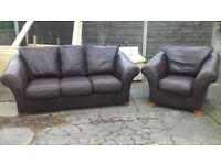 dfs 3/1 real leather brown sofas