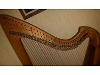 Folk Harp built by Frank Sievert in 2002 with 36 nylon strings, very good condition