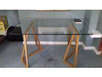 Habitat large glass top table