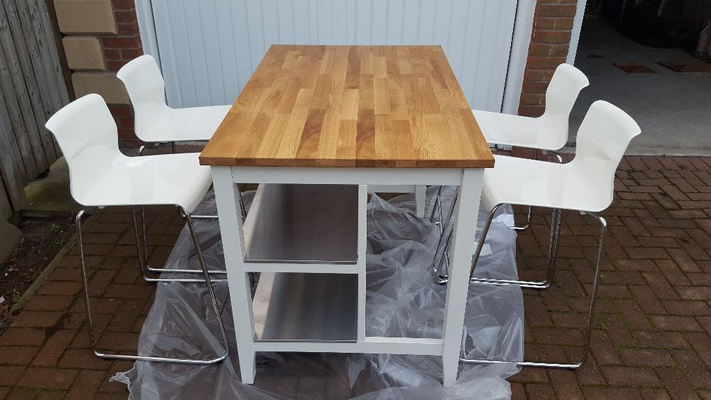 Ikea stenstorp kitchen island white oak 4 ikea glenn chairs as new and built in - Stenstorp kitchen island for sale ...