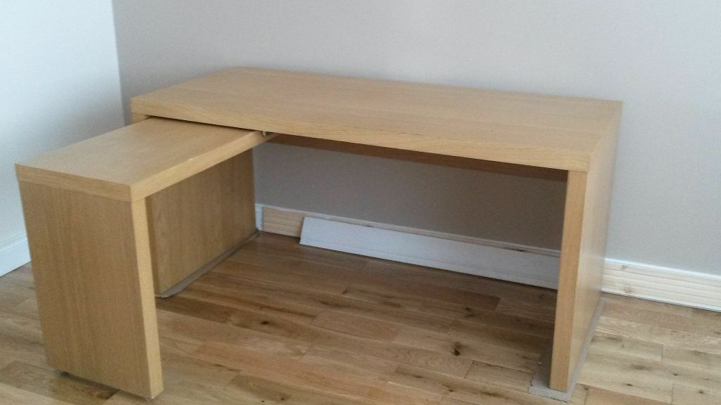 Ikea jonas computer office table now called malm with for Small pull out desk