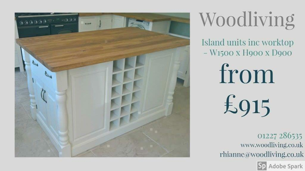Kitchen Island Unit Standard Configuration Solid Pine Oak Bespoke Handmade