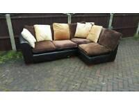 Brown fabric corner sofa (free delivery)