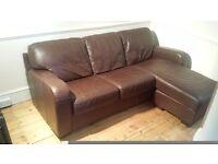 Brown leather 3 seater corner sofa - £100